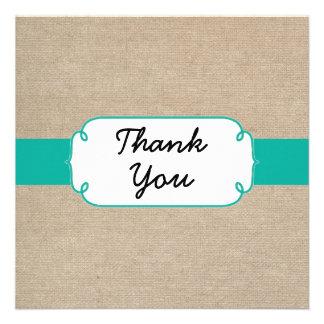 Turquesa rústica e cartões de agradecimentos bege