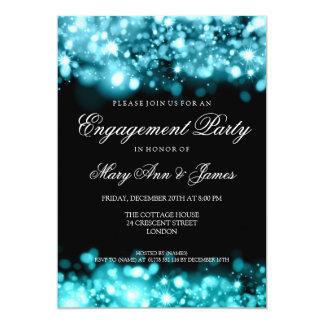 Turquesa Sparkling das luzes da festa de noivado Convite Personalizados