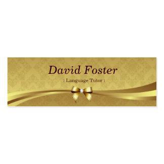 Tutor da língua estrangeira - damasco brilhante do cartão de visita skinny