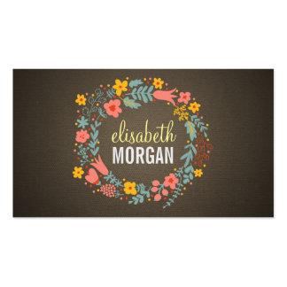 Tutor da língua - grinalda floral de serapilheira cartão de visita