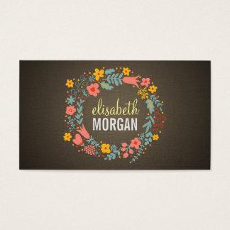Tutor da língua - grinalda floral de serapilheira cartão de visitas