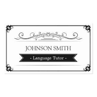 Tutor da língua - quadro elegante do vintage cartão de visita