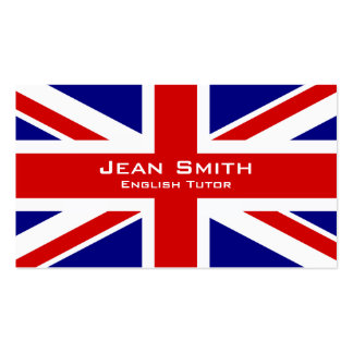 Tutor/professor de inglês ingleses com bandeira cartão de visita