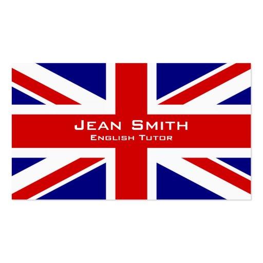 Tutor/professor de inglês ingleses com bandeira cartoes de visita
