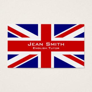 Tutor/professor de inglês ingleses com bandeira cartão de visitas