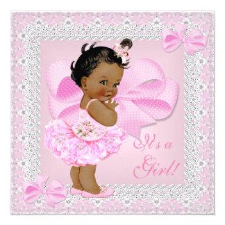 Tutu cor-de-rosa bonito da menina bonito do chá de convite quadrado 13.35 x 13.35cm