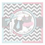 Tutu cor-de-rosa & laço azul & chá de fraldas gême convite personalizado
