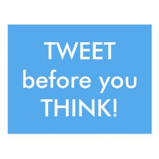 Tweet antes que você pensar o cartão cómico