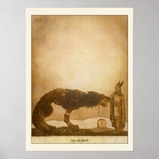 Tyr e Fenrir por John Bauer Poster