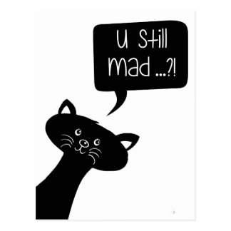 U ainda louco?! Cartão bonito do gato preto