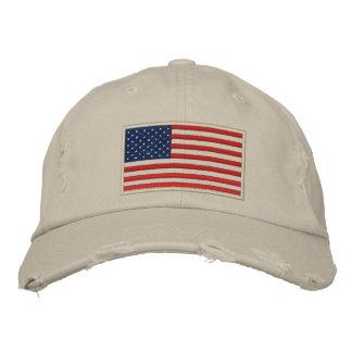 U.S. A bandeira bordou o chapéu afligido Boné Bordado