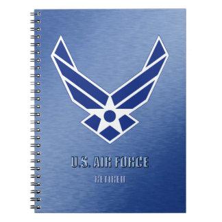 U.S. Caderno espiral aposentado força aérea da