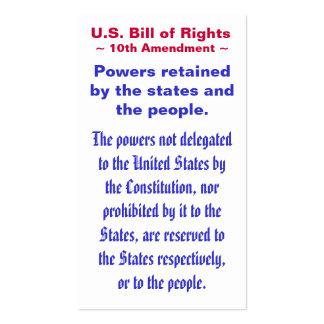 U.S. Declaração de Direitos, ~ da alteração do ~ Cartão De Visita
