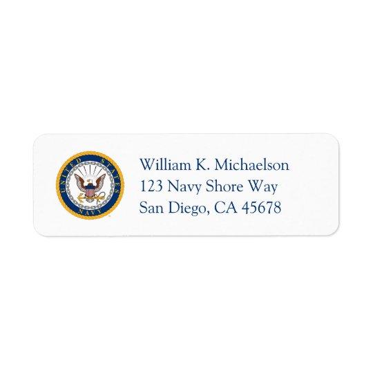 U.S. Emblema do marinho do marinho | Etiqueta Endereço De Retorno