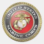 U.S. O Corpo do Marines (USMC) simboliza [3D] Adesivos Redondos