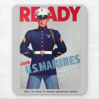 """U.S. Poster de um """"pronto"""" do vintage WWII do Corp Mouse Pad"""