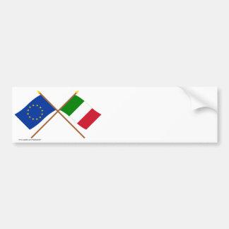 UE e bandeiras cruzadas Italia Adesivos