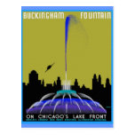 UFO sobre a fonte de Chicago - de Buckingham Cartão Postal