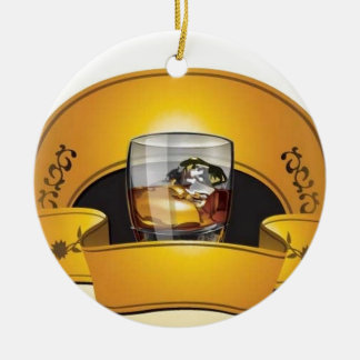 uísque-logotipo-vetor ornamento de cerâmica redondo