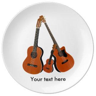 Ukulele da guitarra acústica e baixo acústico prato de porcelana
