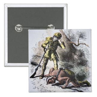 """""""Último dos Mohicans"""" por James Fenimore Cooper (1 Bóton Quadrado 5.08cm"""