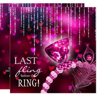 Último Fling antes do anel cor-de-rosa de Convite Quadrado 13.35 X 13.35cm
