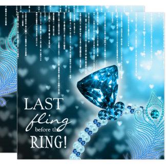 Último Fling antes do anel do azul de Bachelorette Convite Quadrado 13.35 X 13.35cm