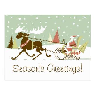 Um alce abre o Natal retro de Papai Noel do trenó Cartão Postal