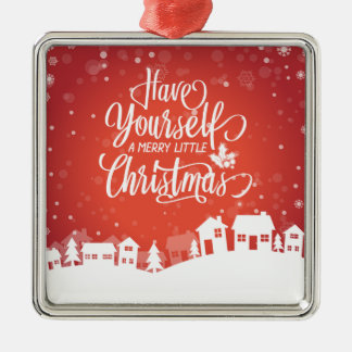 Um alegre pouco ornamento quadrado do Natal  