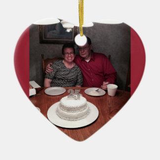 um aniversário de 25 anos ornamento de cerâmica coração