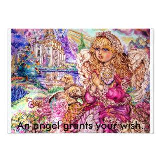 Um anjo de praying., um anjo concede seu desejo convite 12.7 x 17.78cm