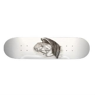 Um anjo do sono, preto e branco shape de skate 18,1cm