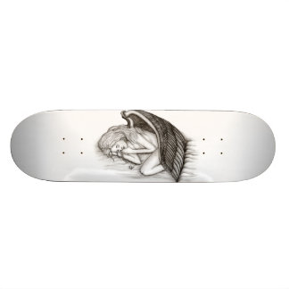 Um anjo do sono, preto e branco shape de skate 20cm