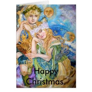 Um anjo e uma deusa do art., Chris feliz… Cartão
