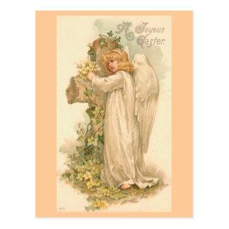 Um anjo feliz da páscoa cartão postal