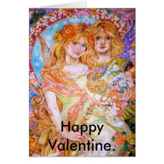 Um anjo na primavera e amantes., Valen feliz… Cartão Comemorativo