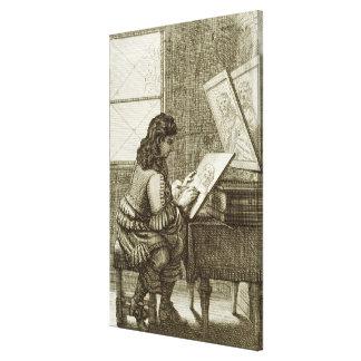 Um artista que copia em uma placa da gravura, impr impressão em tela