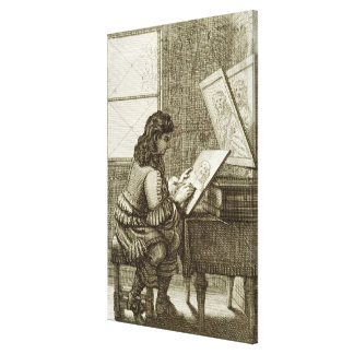 Um artista que copia em uma placa da gravura, impr impressão de canvas envolvida