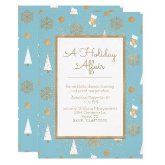 Um azul do caso do feriado e um convite de festas