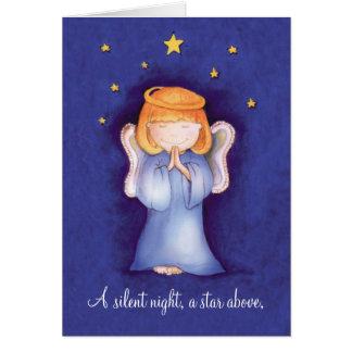Um azul silencioso do cartão do anjo do Natal da