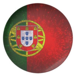 Um bandeira de Portugal Pratos