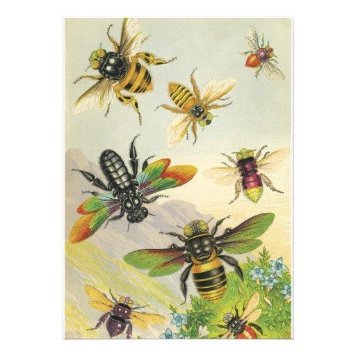 Um bando do convite de festas das abelhas