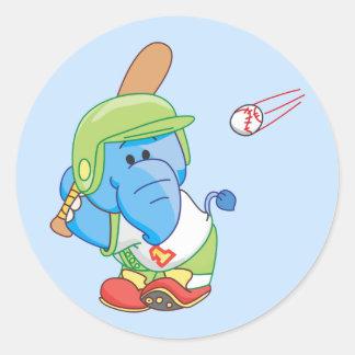 Um basebol azul do elefante de Lil Adesivo