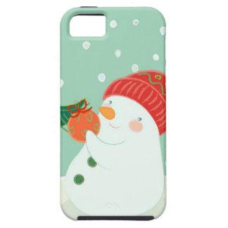 Um boneco de neve que pendura um ornamento em uma capa tough para iPhone 5