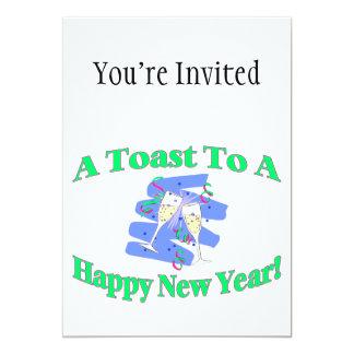 Um brinde de ano novo convite 12.7 x 17.78cm