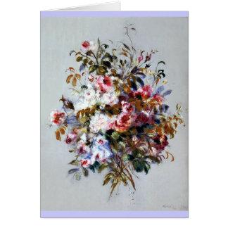 Um buquê dos rosas pelo cartão das belas artes de