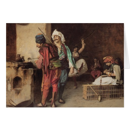 """""""Um café no Cairo"""" por Jean Leon Gerome Cartões"""