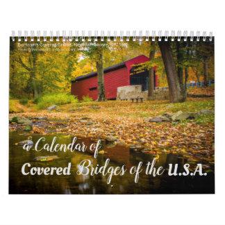 Um calendário 2018 de pontes cobertas nos EUA