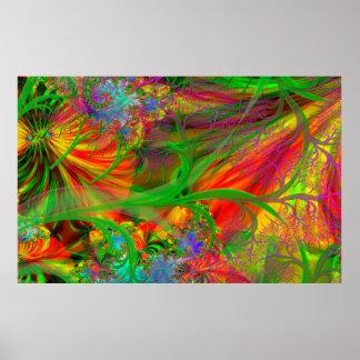 Um campo das flores selvagens psicadélicos poster
