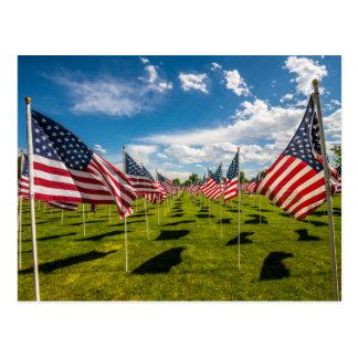 Um campo de bandeiras americanas em uma cartão postal